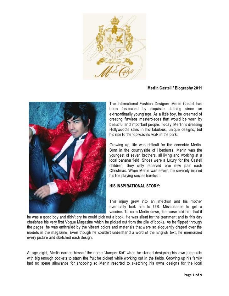 Fashion Designer Biography Sample