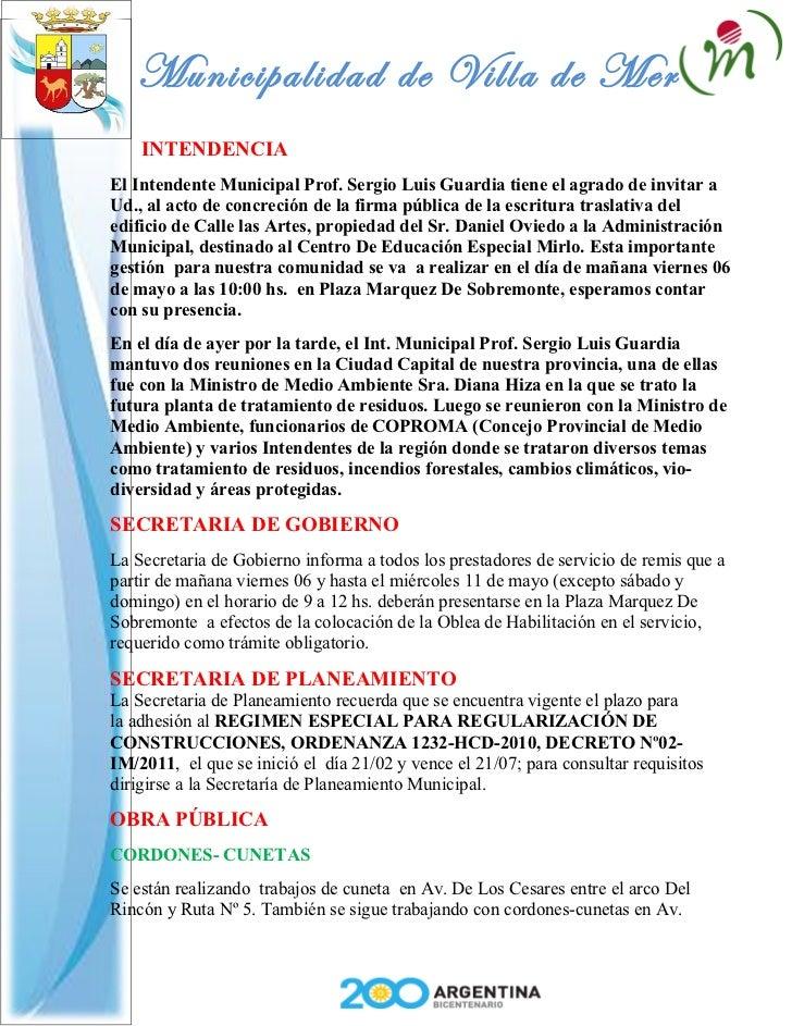 Municipalidad de Villa de Merlo    INTENDENCIAEl Intendente Municipal Prof. Sergio Luis Guardia tiene el agrado de invitar...