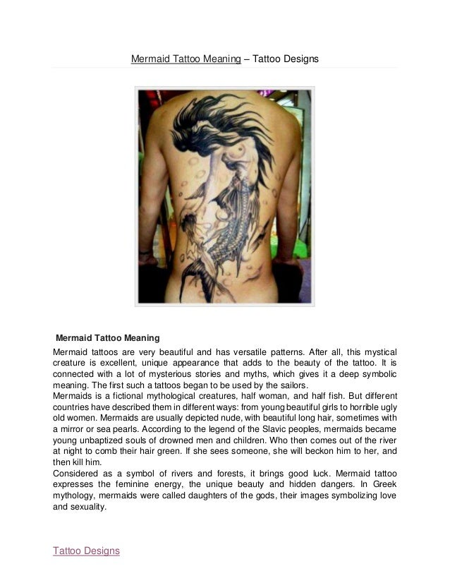 Mermaid tattoo meaning for What does a 1 tattoo mean