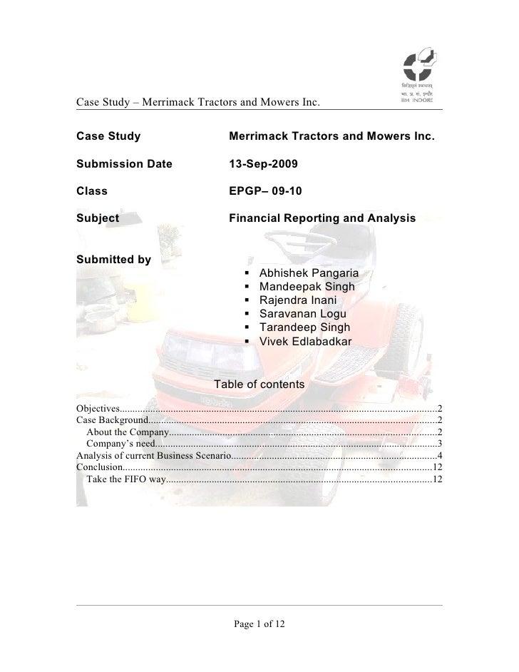 Merrimack tractors   analysis - final