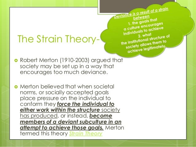 mertons strain theory essay Merton recognized that this imbalance leads to strain, which in turn may  21  middle range theory 22 social structure, anomie, and strain theory  his  essay bureaucratic structure and personality describes the red.