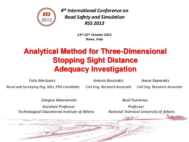 4th International Conference on Road Safety and Simulation RSS 2013 23rd-25th October 2013 Rome, Italy  Analytical Method ...