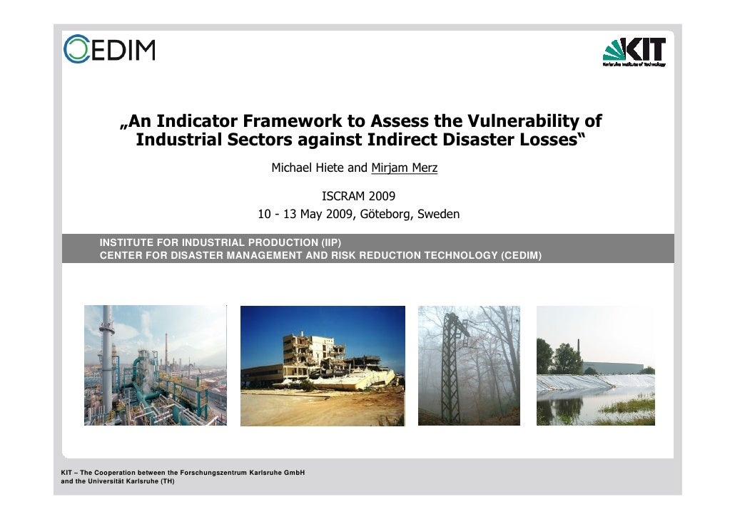 """""""An Indicator Framework to Assess the Vulnerability of                  Industrial Sectors against Indirect Disaster Losse..."""