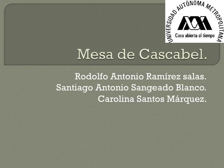 Rodolfo Antonio Ramírez salas. Santiago Antonio Sangeado Blanco. Carolina Santos Márquez.