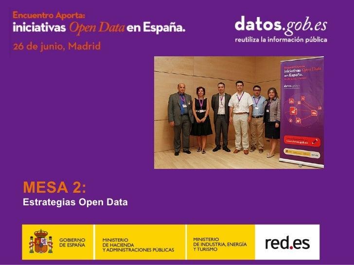 MESA 2:Estrategias Open Data