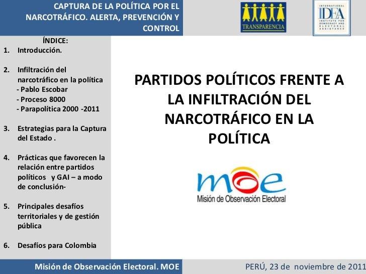 Partidos políticos frente a la infiltración del narcotráfico- Alejandra Barrios (MOE Colombia)