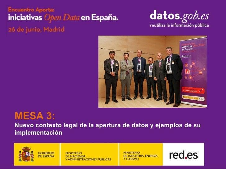 MESA 3:Nuevo contexto legal de la apertura de datos y ejemplos de suimplementación