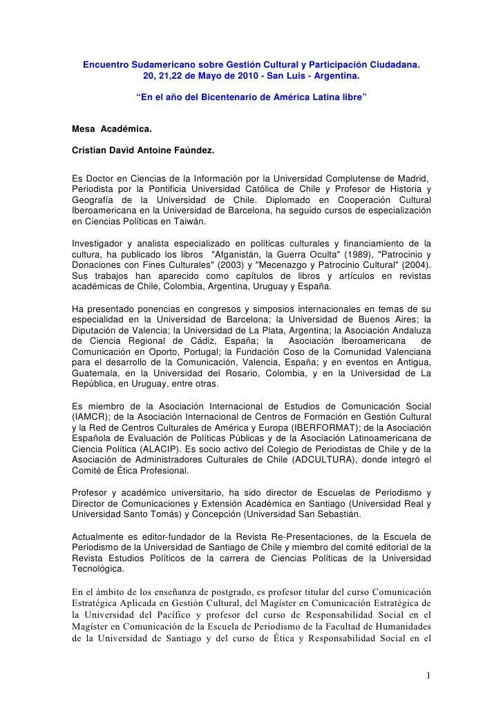 Encuentro Sudamericano sobre Gestión Cultural y Participación Ciudadana.               20, 21,22 de Mayo de 2010 - San Lui...