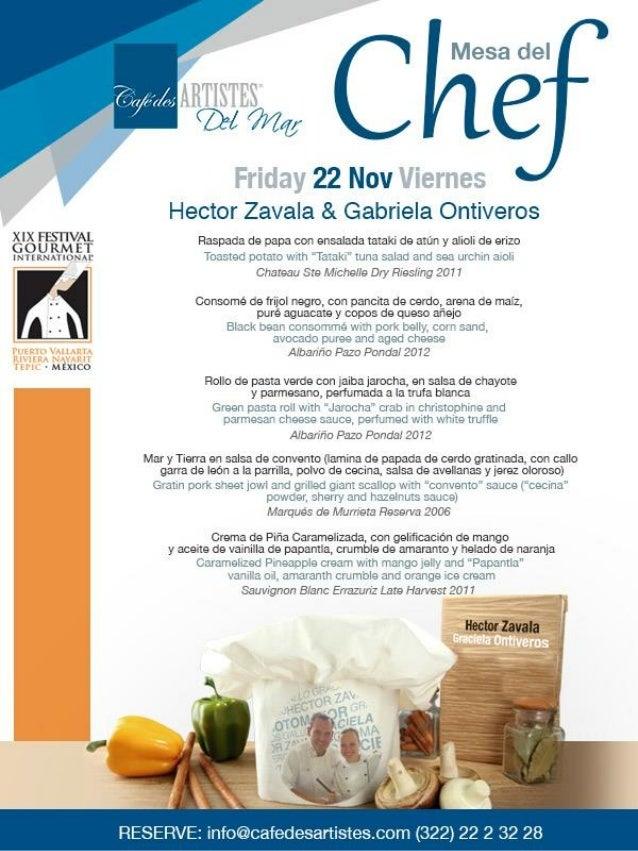 Mesa del chef 22 de nov. cafe des artistes del mar  festival gourmet