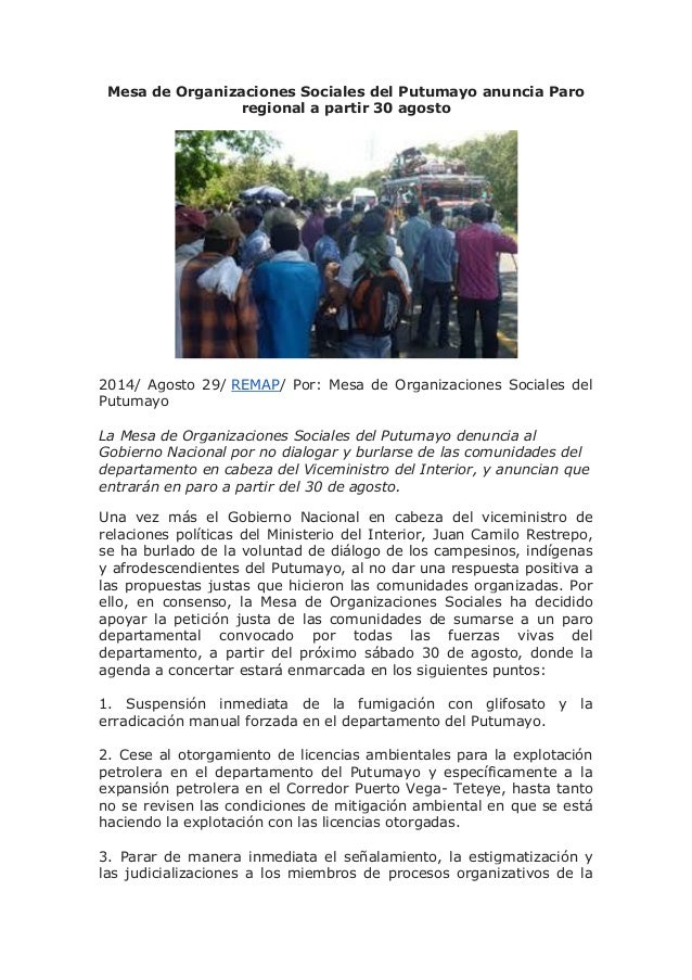 Mesa de Organizaciones Sociales del Putumayo anuncia Paro regional a partir 30 agosto  2014/ Agosto 29/ REMAP/ Por: Mesa d...