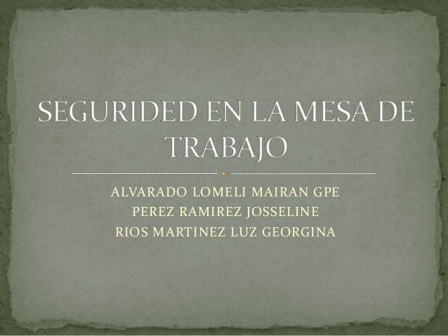 ALVARADO LOMELI MAIRAN GPE PEREZ RAMIREZ JOSSELINE RIOS MARTINEZ LUZ GEORGINA