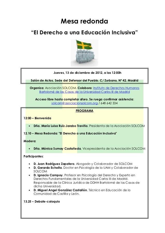 """Mesa redonda       """"El Derecho a una Educación Inclusiva""""                      Jueves, 13 de diciembre de 2012, a las 12:0..."""