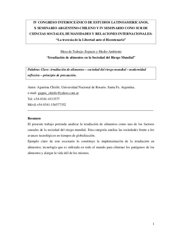 IV CONGRESO INTEROCEÁNICO DE ESTUDIOS LATINOAMERICANOS,    X SEMINARIO ARGENTINO-CHILENO Y IV SEMINARIO CONO SUR DE CIENCI...