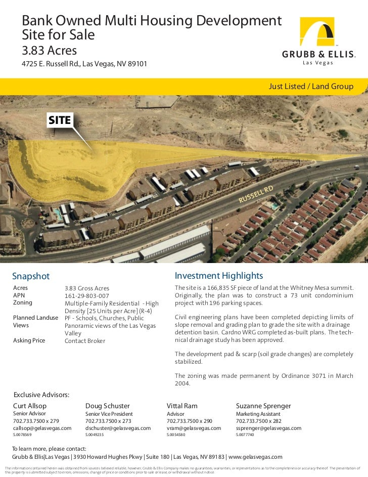Bank Owned Multi Housing Development          Site for Sale          3.83 Acres          4725 E. Russell Rd., Las Vegas, N...