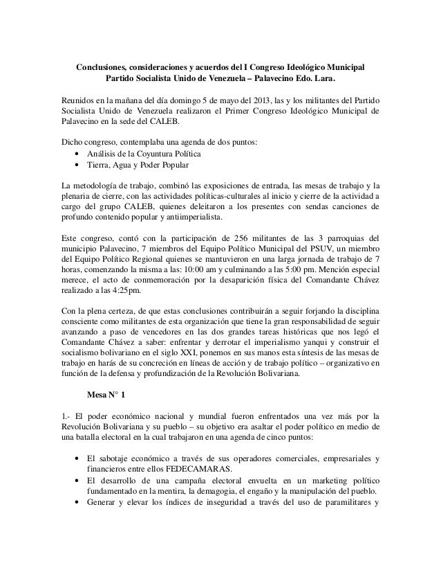 Conclusiones,consideracionesyacuerdosdelICongresoIdeológicoMunicipalPartidoSocialistaUnidodeVenezuela–Palave...