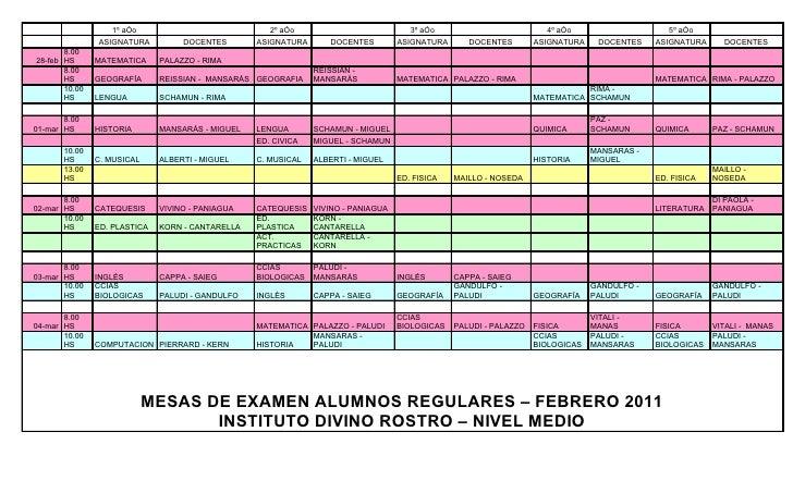 Mesas regulares febrero - marzo 2011