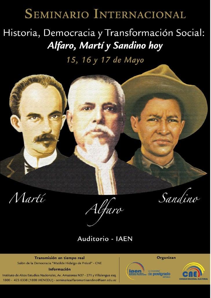 """PONENCIASSeminario Internacional""""Historia, Democracia y Transformación Social: Alfaro, Martí y Sandino hoy""""Mesa 11. Jorge ..."""