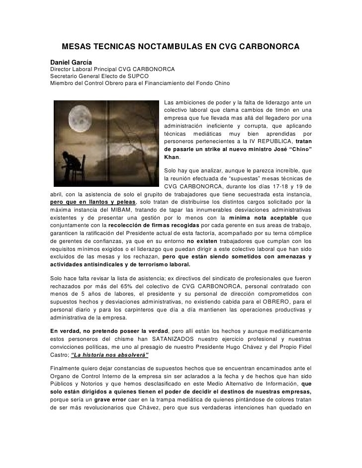 MESAS TECNICAS NOCTAMBULAS EN CVG CARBONORCA Daniel García Director Laboral Principal CVG CARBONORCA Secretario General El...
