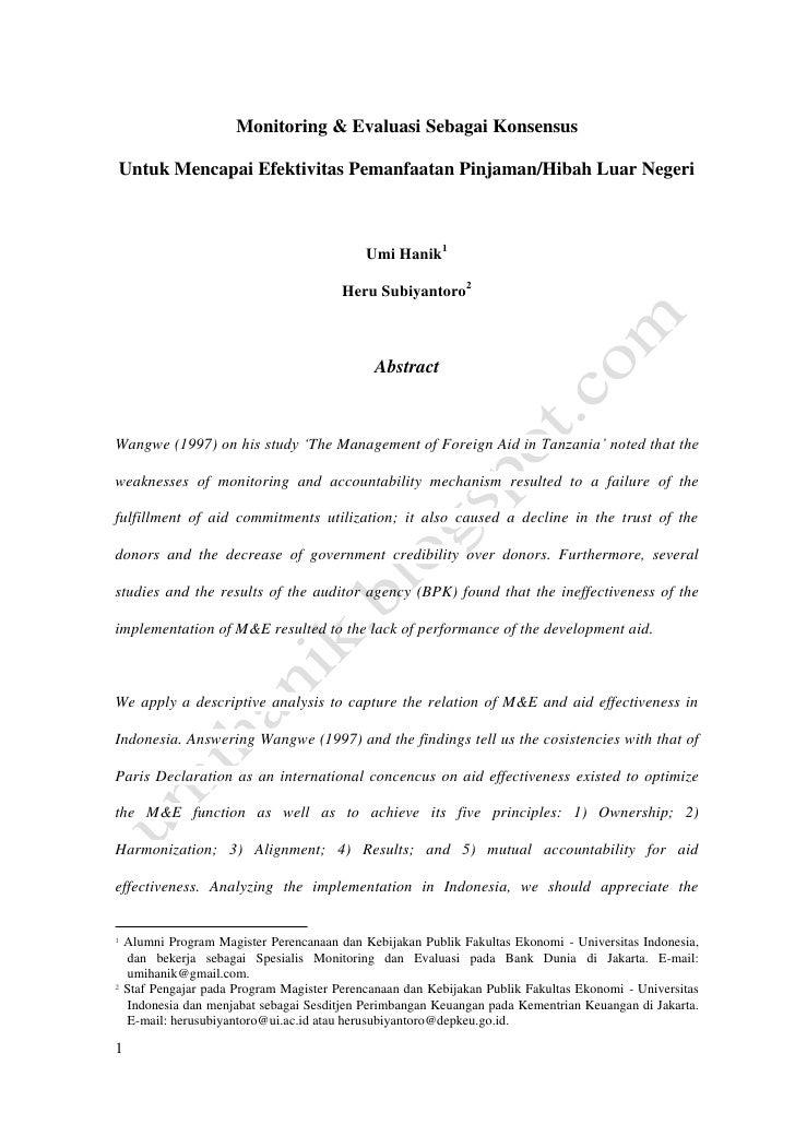 M&E sebagai konsensus untuk efektivitas pemanfaatan phln