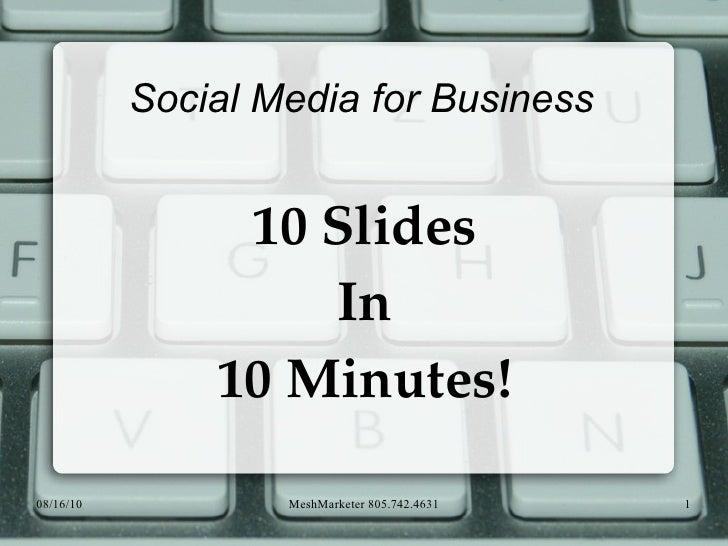 Social Media for Business 10 Slides In 10 Minutes!