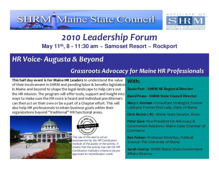 2010 Leadership Forum                   May 11th, 8 - 11:30 am ~ Samoset Resort ~ Rockport                                ...
