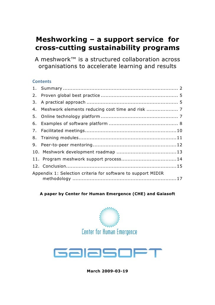 Meshworking – a support service for  cross-cutting sustainability programs  A meshwork™ is a structured collaboration acro...