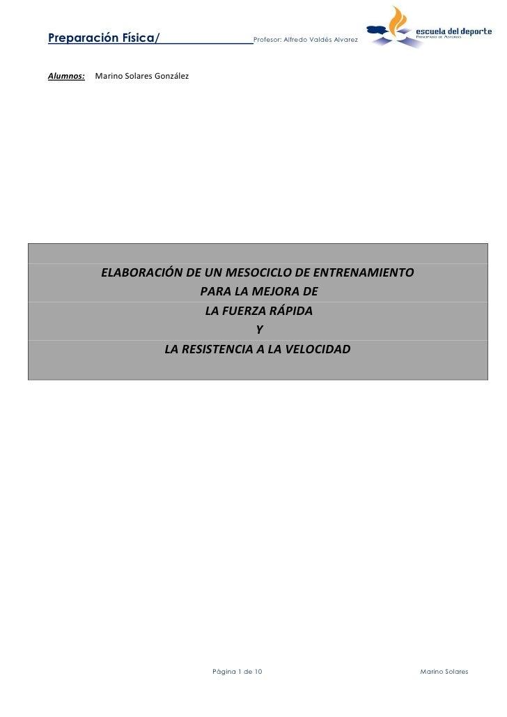 Preparación Física/                             Profesor: Alfredo Valdés AlvarezAlumnos:   Marino Solares González        ...