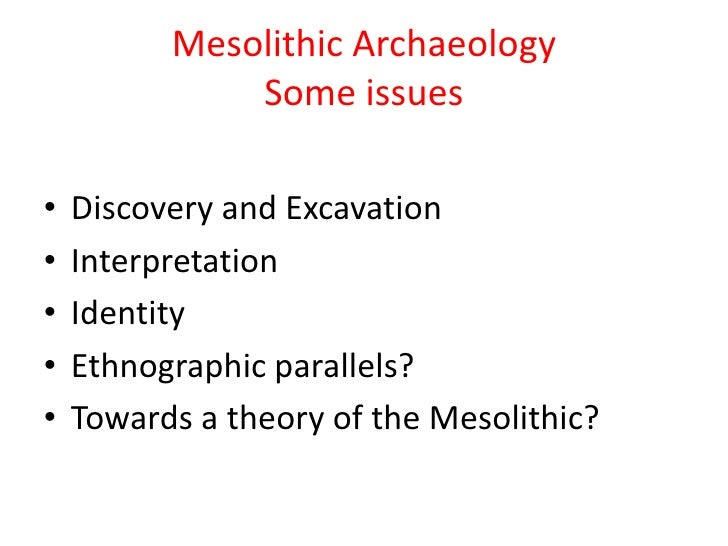 Mesolithic ArchaeologySome issues<br />Discovery and Excavation<br />Interpretation<br />Identity<br />Ethnographic parall...
