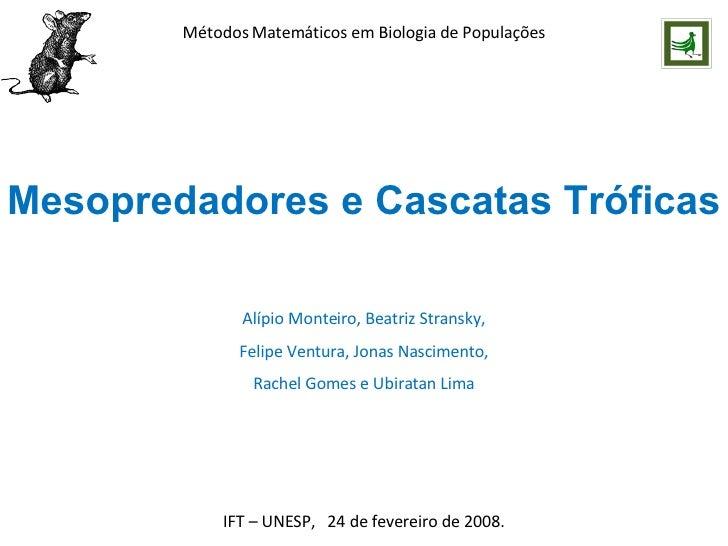 Métodos Matemáticos em Biologia de Populações Mesopredadores e Cascatas Tróficas IFT – UNESP,  24 de fevereiro de 2008. Al...