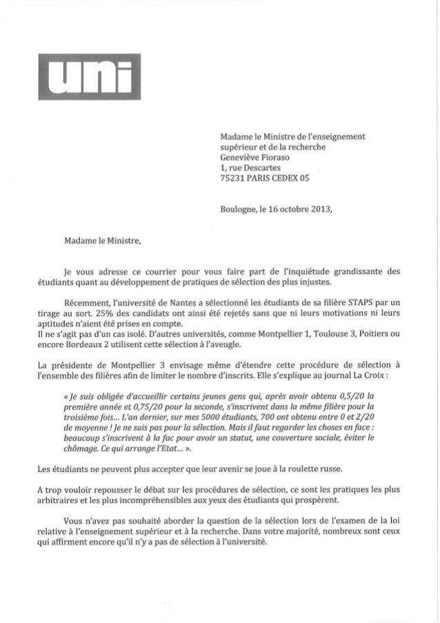 Courrier de l'UNI-MET adressé à G. Fioraso