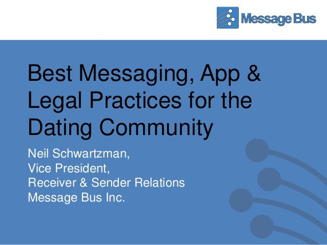 Best Messaging, App &Legal Practices for theDating CommunityNeil Schwartzman,Vice President,Receiver & Sender RelationsMes...