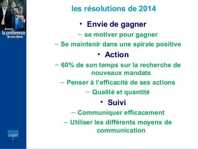 les résolutions de 2014 • Envie de gagner – se motiver pour gagner – Se maintenir dans une spirale positive  • Action – 60...