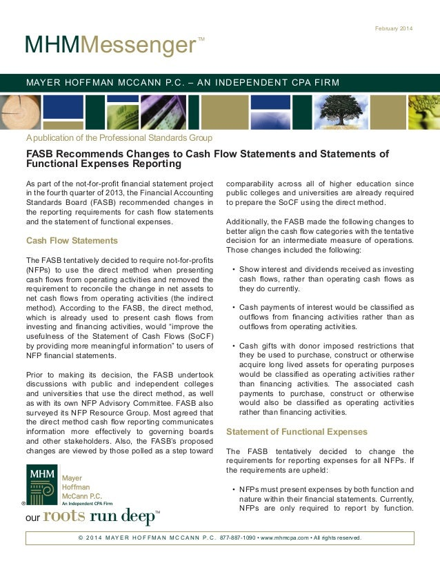 FASB Recommends Changes to Cash Flow Statements and Statements of Functional Expenses Reporting