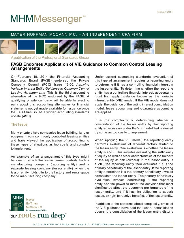FASB Endorses Application of VIE Guidance to Common Control Leasing Arrangements