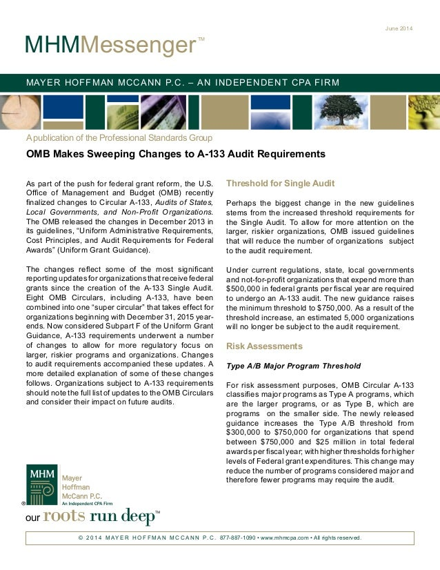 MHM Messenger: OMB Makes Sweeping Changes to A-133 Audit Requirements