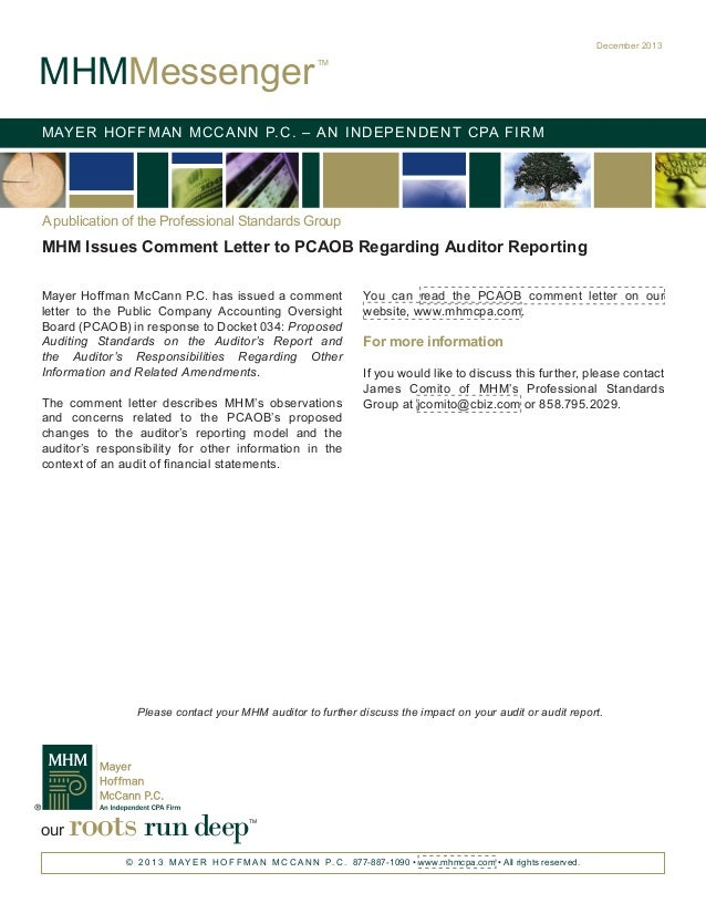 MHM Issues Comment Letter to PCAOB Regarding Auditor's Reporting