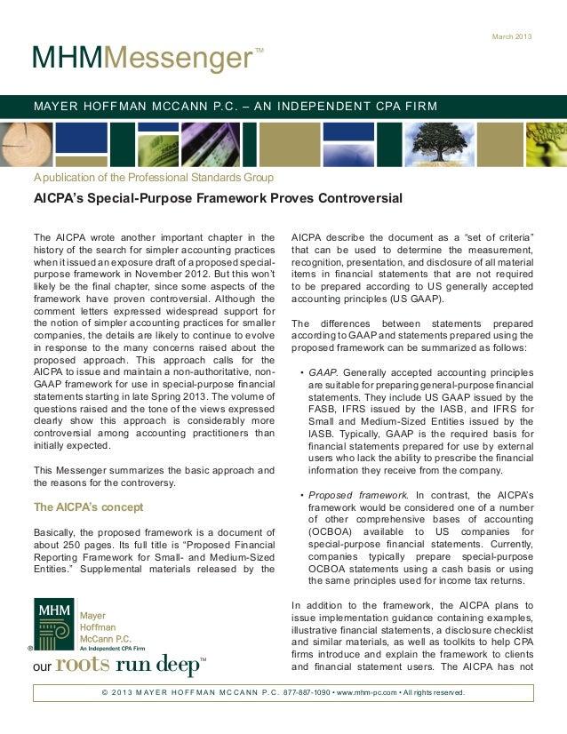 AICPA's Special-Purpose Framework Proves Controversial