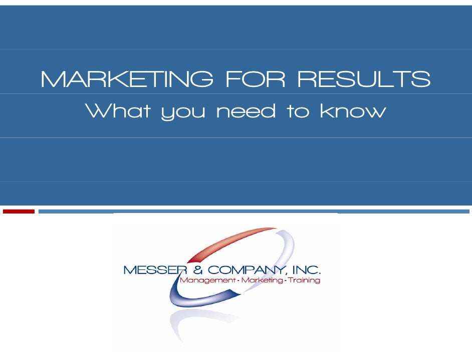 MARKETING FOR RESULTS   What you need to know