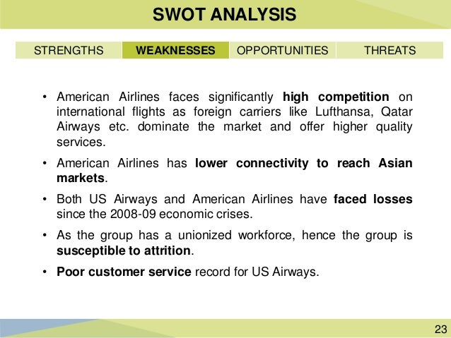 swot on american airlines Swot analysis of singapore airlines updated on march 14 the airline has grown to be the third largest of singapore airlines by utilizing the swot analysis.