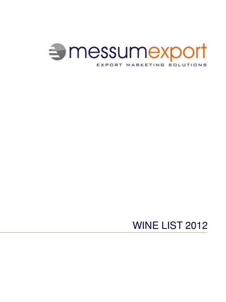 Messum Export Wine List, 2012