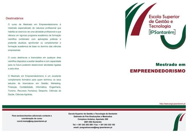 Mestrado em Empreendedorismo esgts 2013