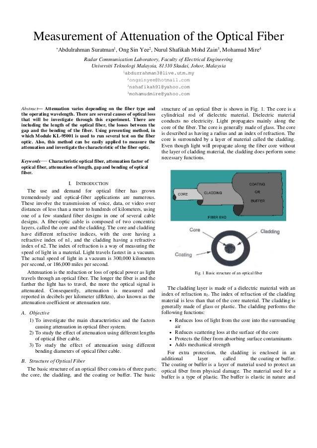 Measurement of Attenuation of the Optical Fiber 'Abdulrahman Suratman1, Ong Sin Yee2, Nurul Shafikah Mohd Zain3, Mohamud M...