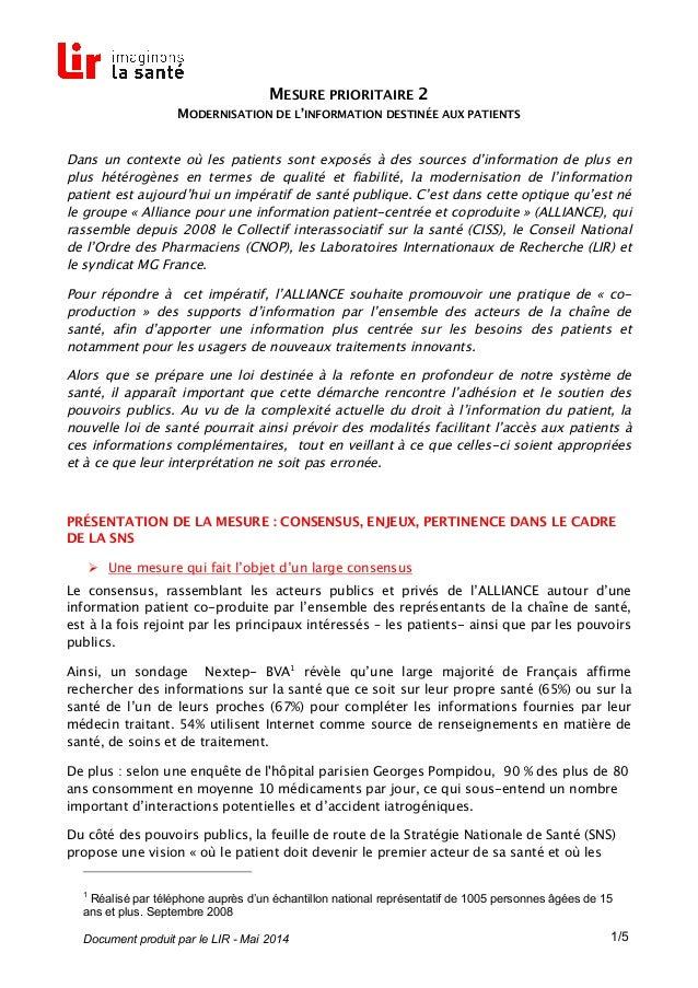 Document produit par le LIR - Mai 2014 1/5 MESURE PRIORITAIRE 2 MODERNISATION DE L'INFORMATION DESTINÉE AUX PATIENTS Dans ...