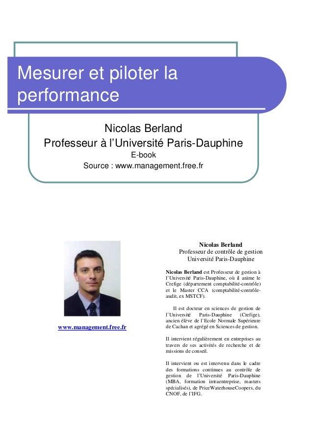 Mesurer et piloter laperformance               Nicolas Berland   Professeur à l'Université Paris-Dauphine                 ...