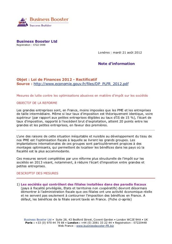 Mesures contre les optimisations abusives en matière d'impôt sur les sociétés 2012