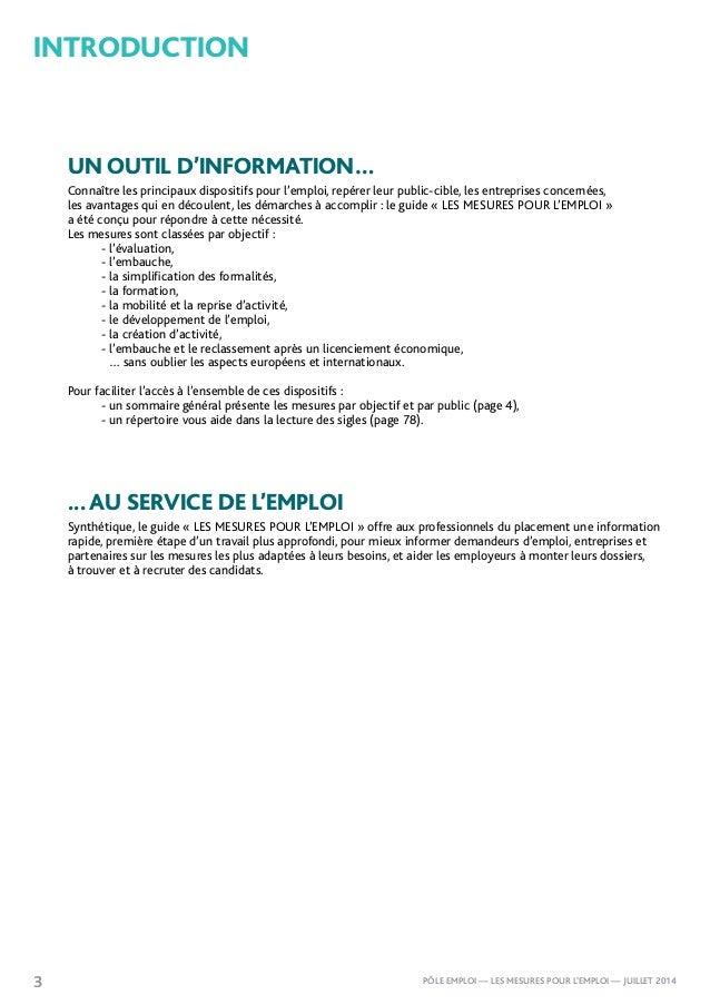 Mesures pour l 39 emploi p le emploi juillet 2014 for La porte non emergency number