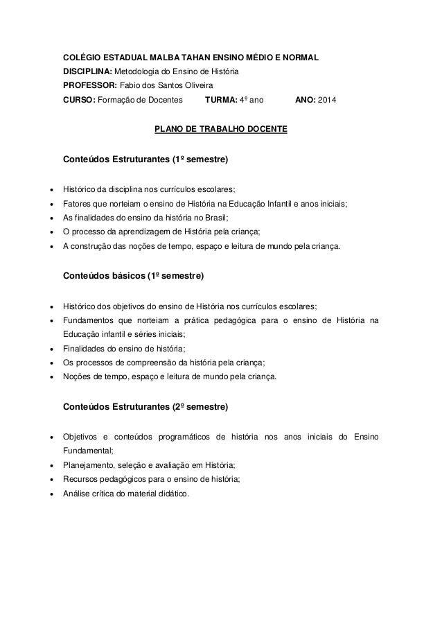 COLÉGIO ESTADUAL MALBA TAHAN ENSINO MÉDIO E NORMAL DISCIPLINA: Metodologia do Ensino de História PROFESSOR: Fabio dos Sant...