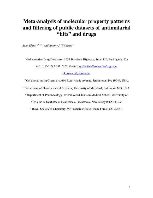 Meta analysis of molecular property patterns and filtering of public datasets of antimalarial hits and drugs