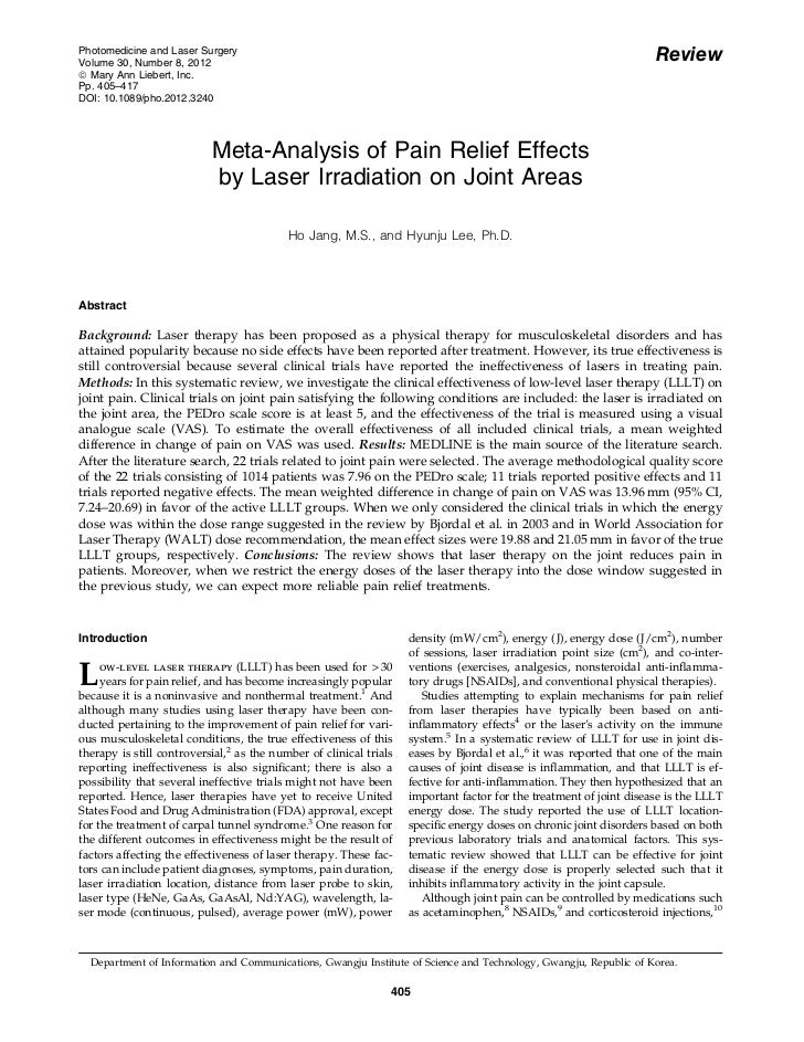 Meta analysis of pain relief effects with laser