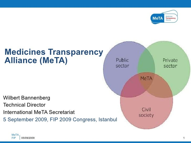 Wilbert Bannenberg Technical Director International MeTA Secretariat 5 September 2009, FIP 2009 Congress, Istanbul Medicin...